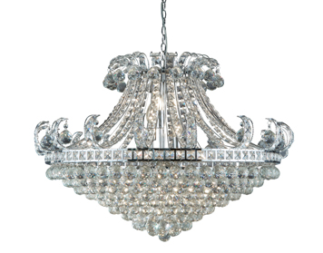 Searchlight Bloomsbury 8 Light Chandelier, Chrome Finish With Clear Crystal Decoration - 5048-8CC