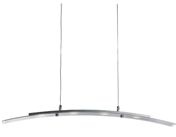 Searchlight LED 4 Light Bar Ceiling Light, Satin Silver Finish With Clear & Frosted Glass - 5064-4SS
