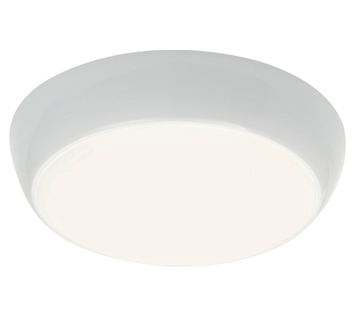 Endon Vigor LED Microwave 16W LED Flush Ceiling Light, Gloss White & Opal Polycarbonate - 50695