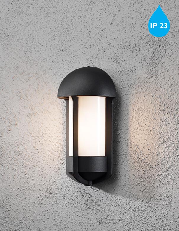 Konstsmide tyr ip23 1 light outdoor wall light black finish opal acrylic