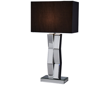 Searchlight Mirror 1 Light Table Lamp, Mirrored Glass/Wood Base With Black String Shade - 5110BK