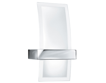 Searchlight LED Wall Light, Chrome Finish With Curved Clear & Frosted Glass Shade - 5115-LED