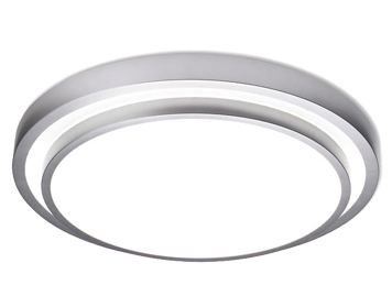 Leds C4 Round 2 Light Ceiling Light, Grey Finish With Opal Polycarbonate Diffuser - 514-GR