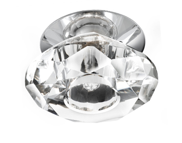Searchlight 1 Light Downlighter, Chrome Finish With Clear Diamond Shaped Glass - 5156CC