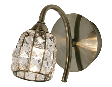 Oaks Lighting Naira Single Wall Light, Antique Brass Finish With Crystal Glass Shade - 5157/1 AB