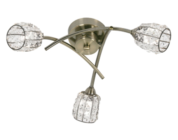 Oaks Lighting Naira 3 Light Semi Flush Ceiling Light, Antique Brass Finish With Crystal Glass Shades - 5157/3 AB