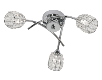 Oaks Lighting Naira 3 Light Semi Flush Ceiling Light, Chrome Finish With Crystal Glass Shades - 5157/3 CH