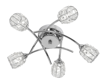 Oaks Lighting Naira 5 Light Semi Flush Ceiling Light, Chrome Finish With Crystal Glass Shades - 5157/5 CH