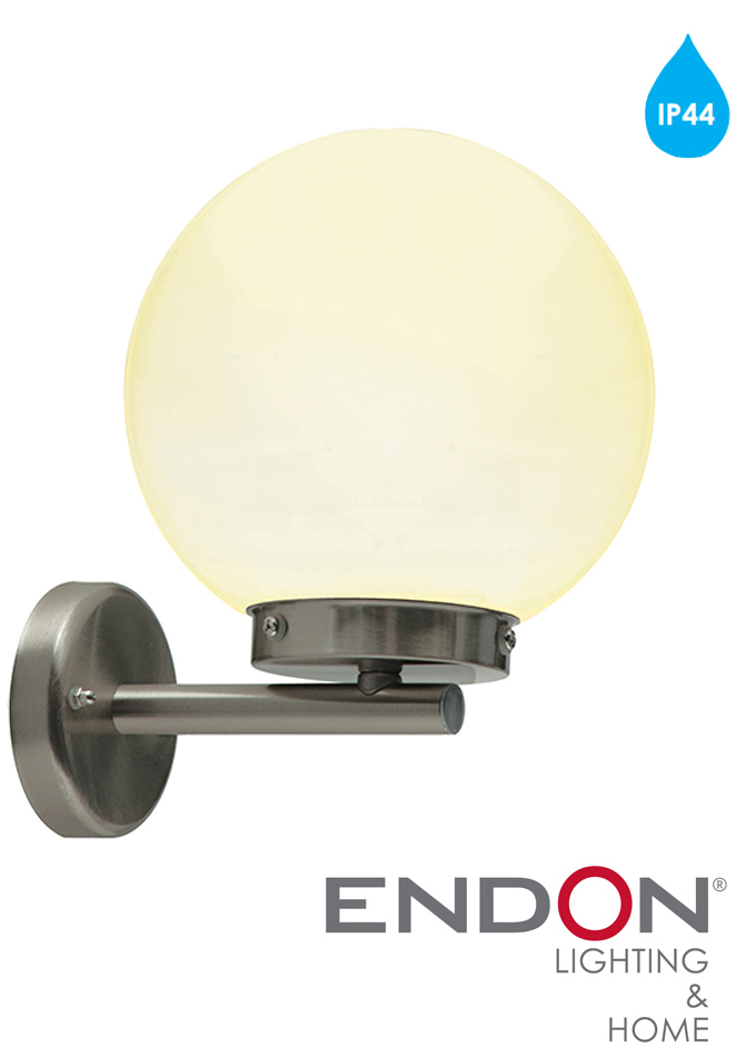 Endon 39 Pallo 39 Ip44 1 Light Outdoor Wall Light Marine Grade Brushed Stainless Steel Opal Pmma