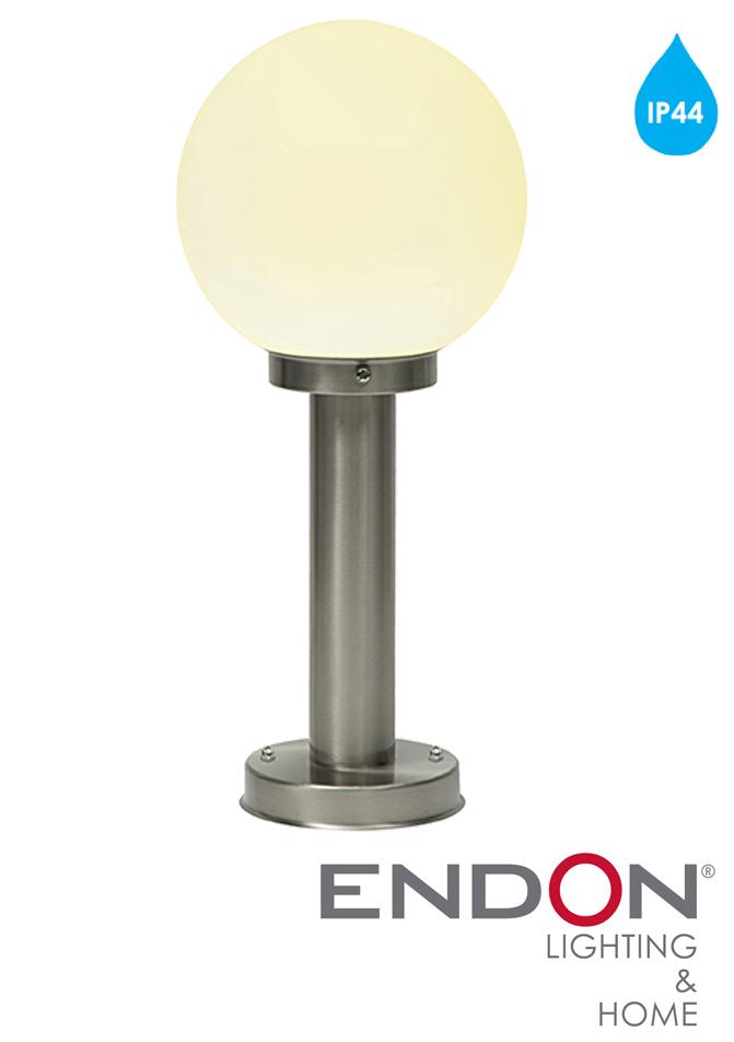 Endon 39 Pallo 39 IP44 1 Light Outdoor Post Light Marine Grade Brushed S