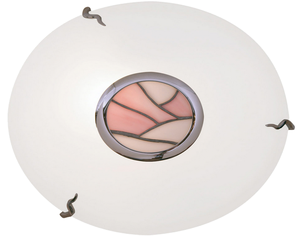Oaks Lighting Tiffany Flush Ceiling Light, Pink Finish - 5170 PI