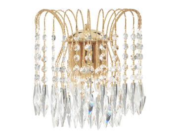 Searchlight Waterfall 2 Light Wall Light, Gold Finish With Crystal Buttons & Drops - 5172-2