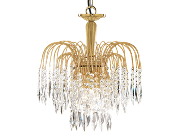 Searchlight Waterfall 3 Light Pendant Ceiling Light, Gold Finish With Crystal Buttons & Drops - 5173-3