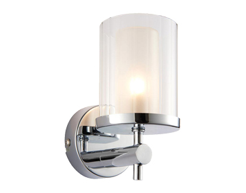 Endon Britton 1 Light Wall Light, Chrome Plate & Clear Glass Finish - 51885