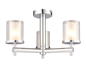 Endon Britton 3 Light Semi Flush Ceiling Light, Chrome Plate & Clear Glass Finish - 51886
