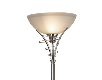Searchlight Linea 1 Light Floor Lamp, Satin Silver Finish With Acid Glass Shade - 5222SS