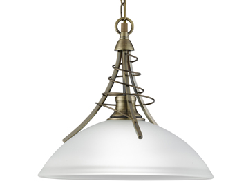 Searchlight Linea 1 Light Ceiling Pendant Light, Antique Brass Finish With Frosted Shade - 5224AB