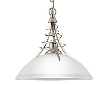 Searchlight Linea 1 Light Ceiling Pendant Light, Satin Silver Finish With Frosted Shade - 5224SS
