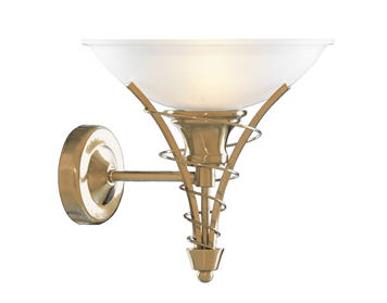 Searchlight Linea 1 Light Wall Light, Antique Brass Finish With Frosted Glass Shade - 5227AB