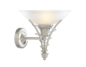 Searchlight Linea 1 Light Wall Light, Satin Silver Finish With Frosted Glass Shade - 5227SS