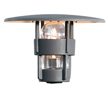 Konstsmide Freja 1 Light Outdoor Post *Head Only*, Matt Black Finish With Clear Glass Diffuser - 523-750