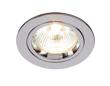 Endon Cast Fixed 50W Recessed Ceiling Downlight, Chrome Plate Finish - 52329