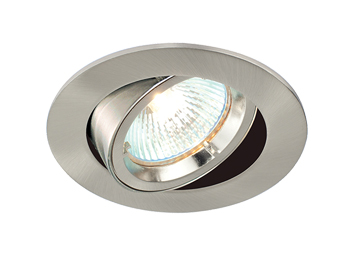 Endon Cast Tilt 50W Recessed Ceiling Downlight, Satin Nickel Plate Finish - 52333