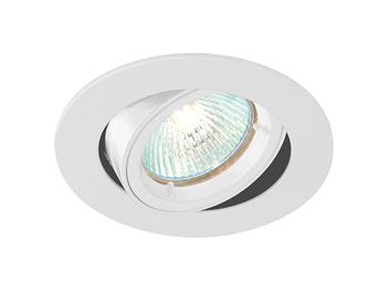 Endon Cast Tilt 50W Recessed Ceiling Downlight, Gloss White Paint Finish - 52334