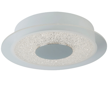 Searchlight Flush LED Ceiling Light (280mm), Matt White Finish With Crushed Ice Effect Glass - 5234-28