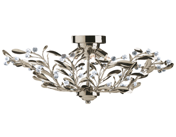 Searchlight Lima 6 Light Semi-Flush Ceiling Light, Antique Brass Finish With Small Crystal Ball Decoration - 5256-6AB