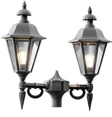 Konstsmide Pallas 2 Light Outdoor Post *Head Only*, Black Finish With Smoked Acrylic Panels - 527-750