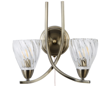 Searchlight Ascona II, 2 Light Wall Bracket - Antique Brass Finish Twist Frame & Glass Shades - 5272-2AB