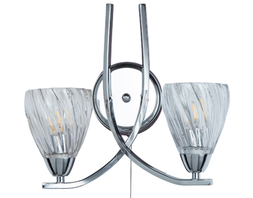 Searchlight Ascona II, 2 Light Wall Light, Chrome Finish With Twist Frame & Glass Shades - 5272-2CC