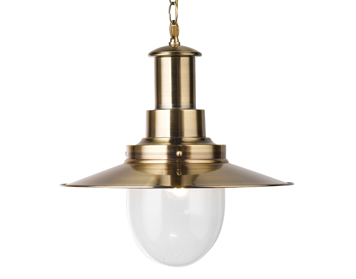 Searchlight Fisherman 1 Light Pendant Ceiling Light, Antique Brass Finish - 5301AB