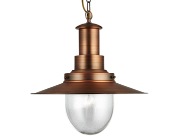 Searchlight Fisherman 1 Light Pendant Ceiling Light, Copper Finish - 5301CU