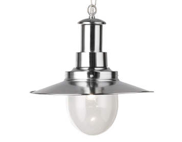 Searchlight Fisherman 1 Light Pendant Ceiling Light, Satin Silver Finish - 5301SS