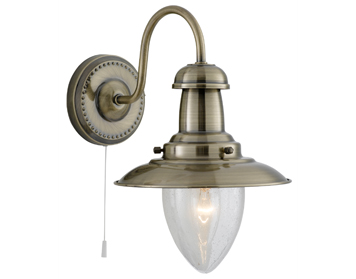 Searchlight Fisherman Switched 1 Light Wall Light, Antique Brass Finish With Clear Seeded Oval Glass Shade - 5331-1AB