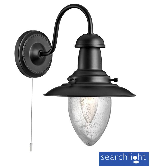 Searchlight Fisherman 1 Light Switched Wall Light, Matt Black - 5331-1BK from Easy Lighting