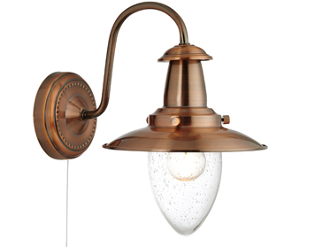 Searchlight Fisherman Switched Wall Light, Copper Finish With Clear Seeded Oval Glass Shade - 5331-1CO