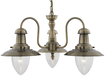 Searchlight Fisherman 3 Light Ceiling Light, Antique Brass Finish With Clear Seeded Oval Glass Shade - 5333-3AB