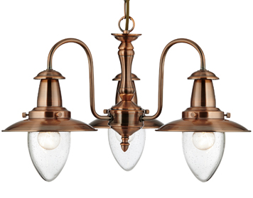 Searchlight Fisherman 3 Light Ceiling Light, Copper Finish With Clear Seeded Oval Glass Shade - 5333-3CO