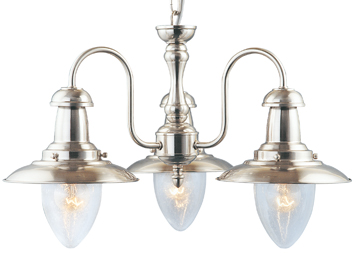 Searchlight Fisherman 3 Light Ceiling Light, Satin Silver Finish With Clear Seeded Oval Glass Shade - 5333-3SS