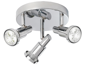 Searchlight Torch 3 Light Plate Spotlight, Chrome Finish - 5343CC