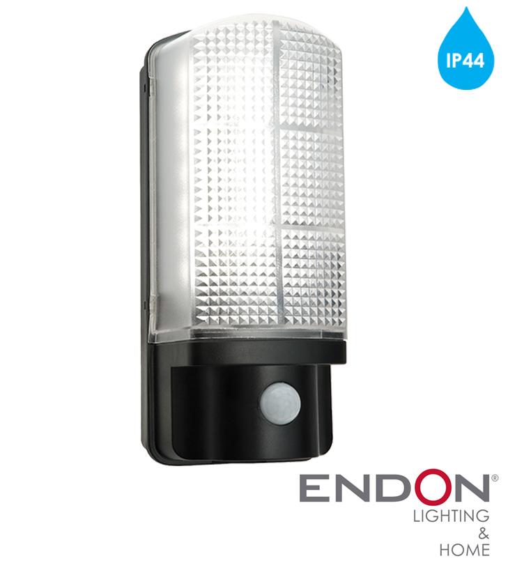 Endon Sella LED PIR IP44 LED 1 Light Outdoor Wall Light, Matt Black Textured & Frosted ...