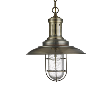 Searchlight Fisherman 1 Light Pendant Ceiling Light, Antique Brass Finish With Caged Shade - 5401AB