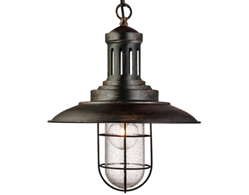 Searchlight Fisherman 1 Light Pendant Ceiling Light, Black Gold Finish With Caged Shade - 5401BG