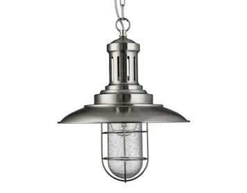 Searchlight Fisherman 1 Light Pendant Ceiling Light, Satin Silver Finish With Caged Shade - 5401SS