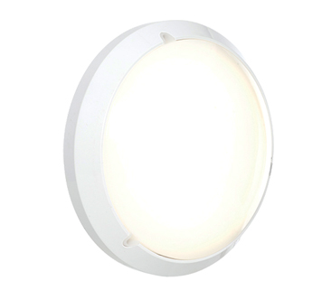 Endon Luella IP54 LED Standard Round Outdoor Wall Light, Gloss White & Opal Polycarbonate ...