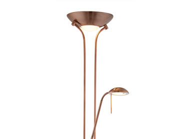 Searchlight Mother & Child 2 Light LED Floor Lamp With Double Dimmer, Antique Copper Finish - 5430CU