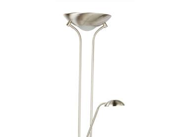 Searchlight Mother & Child 2 Light LED Floor Lamp With Double Dimmer, Satin Silver Finish - 5430SS